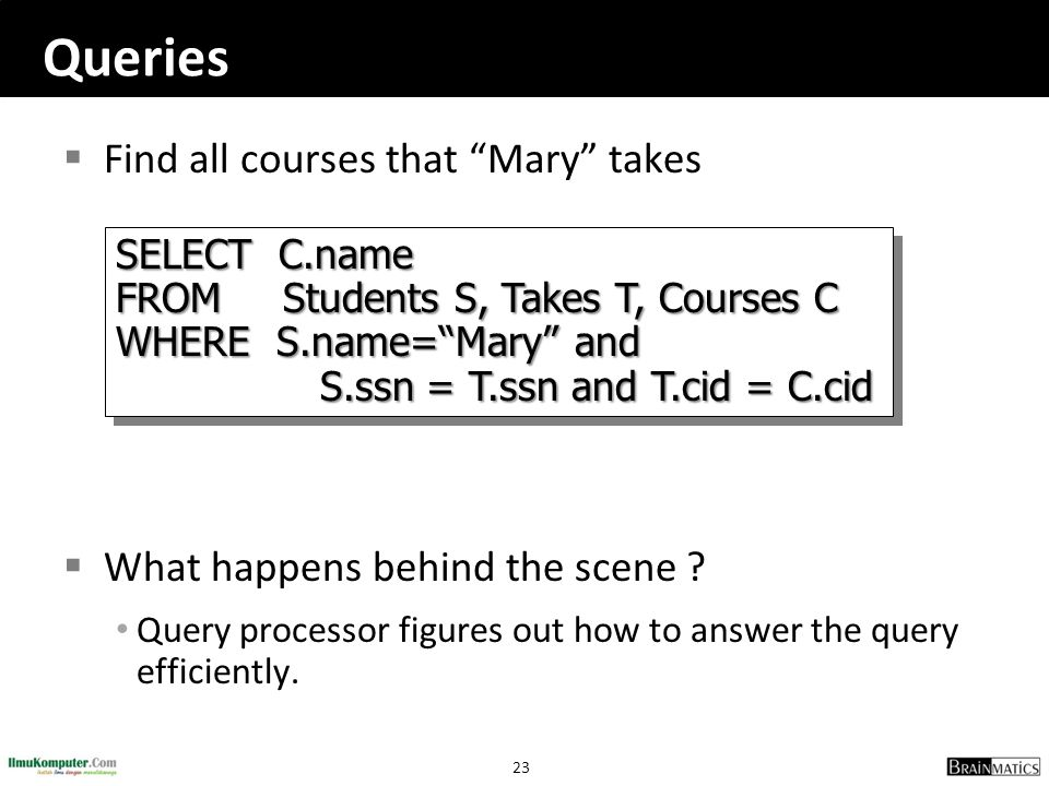 Queries Find all courses that Mary takes