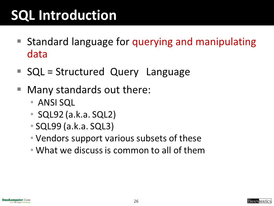 SQL Introduction Standard language for querying and manipulating data