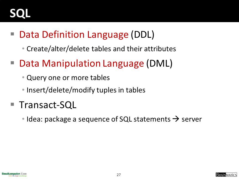 SQL Data Definition Language (DDL) Data Manipulation Language (DML)