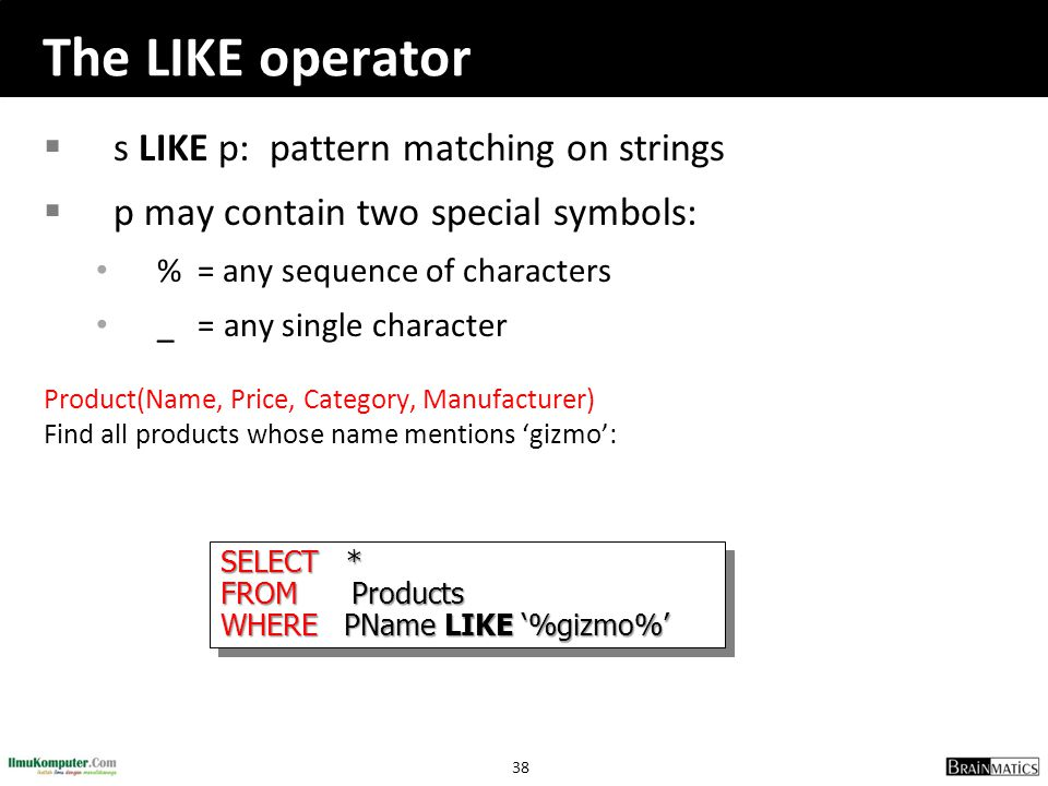 The LIKE operator s LIKE p: pattern matching on strings