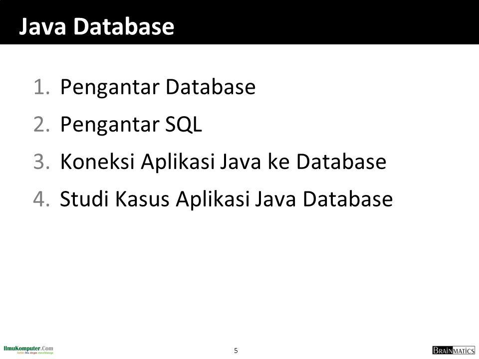 Java Database Pengantar Database Pengantar SQL