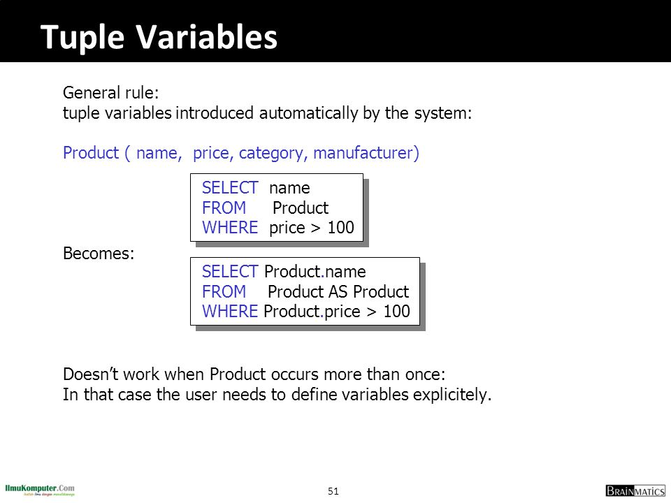 Tuple Variables General rule: tuple variables introduced automatically by the system: Product ( name, price, category, manufacturer)