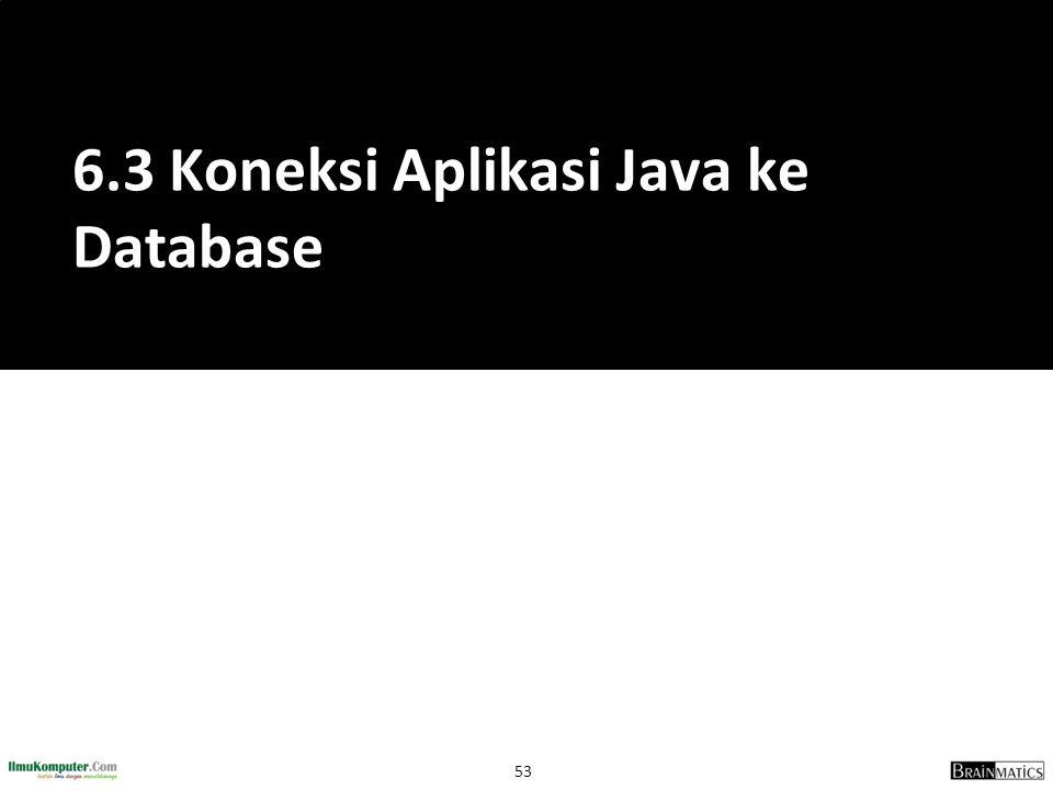 6.3 Koneksi Aplikasi Java ke Database