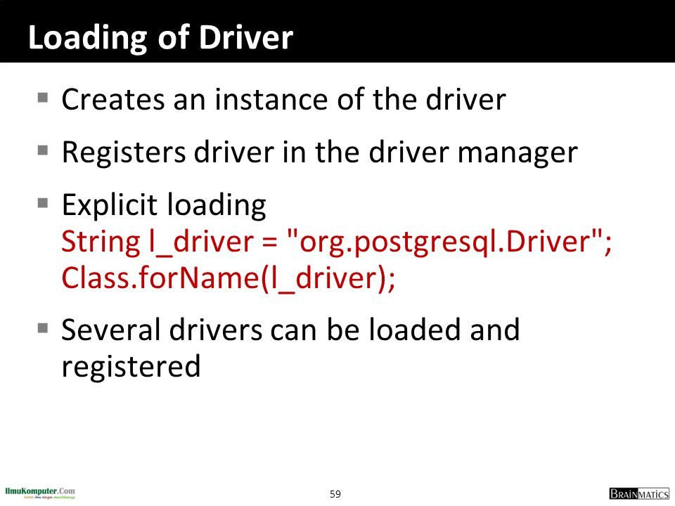 Loading of Driver Creates an instance of the driver