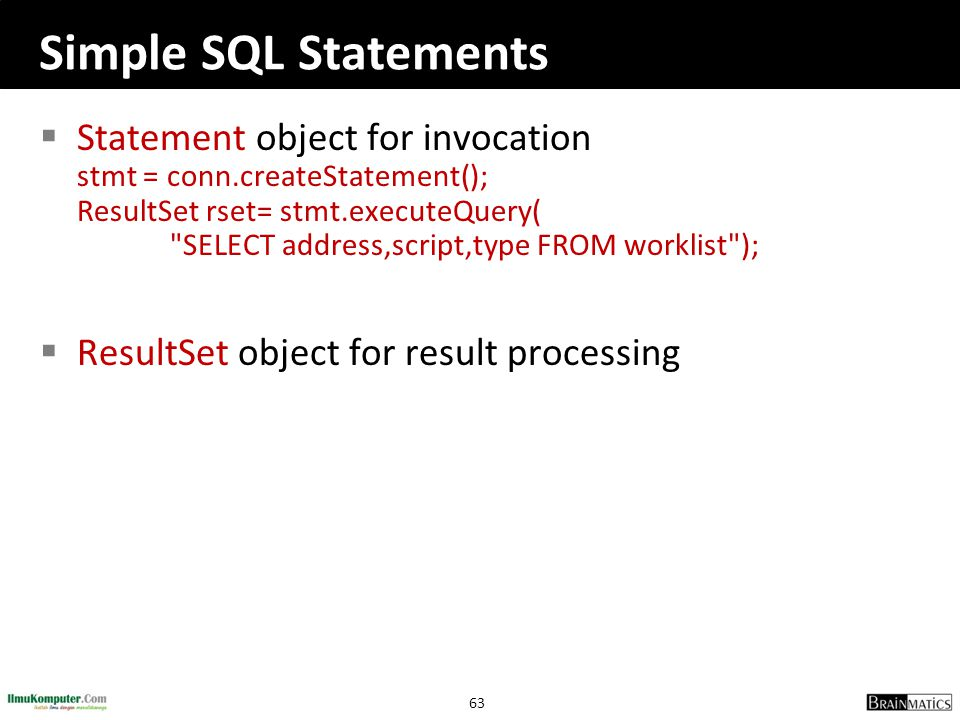 Simple SQL Statements