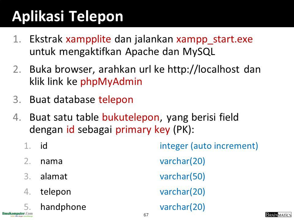 Aplikasi Telepon Ekstrak xampplite dan jalankan xampp_start.exe untuk mengaktifkan Apache dan MySQL.