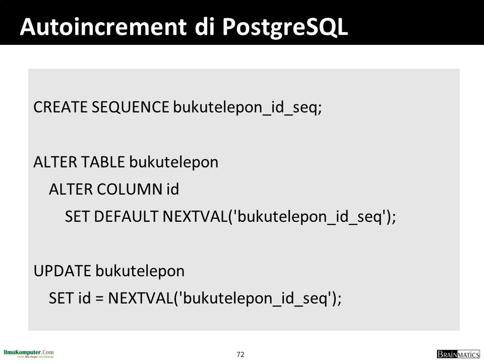 Autoincrement di PostgreSQL