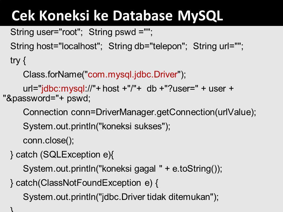 Cek Koneksi ke Database MySQL