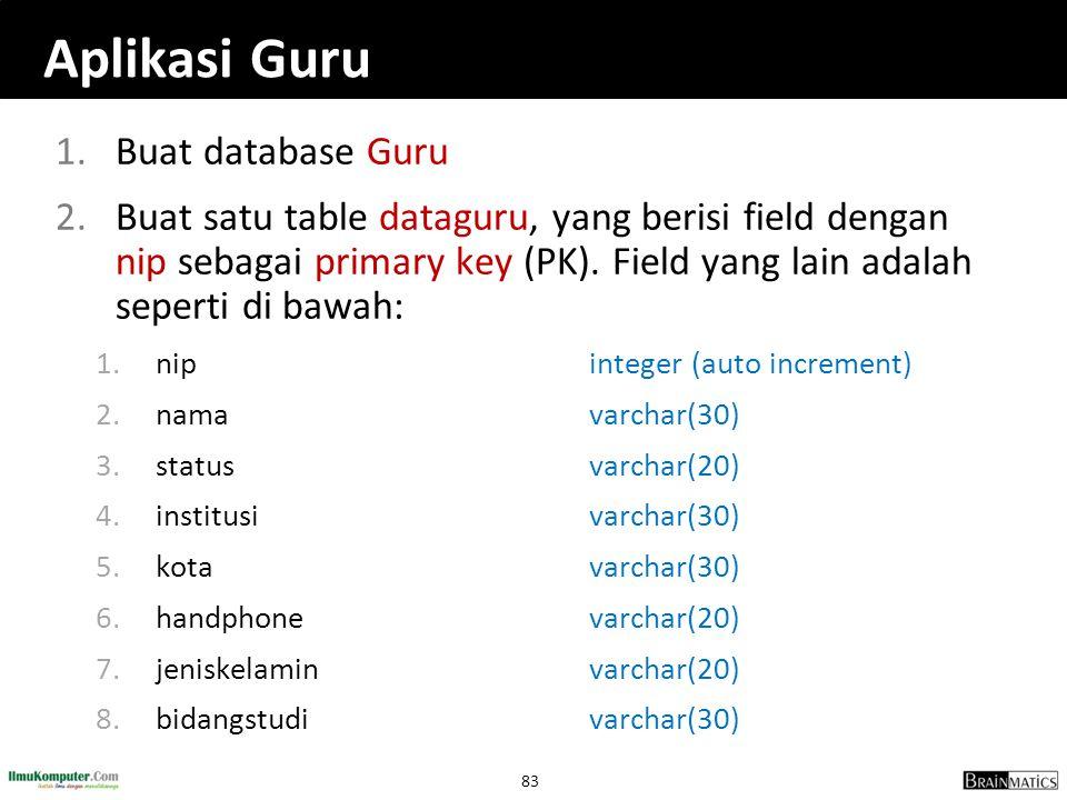 Aplikasi Guru Buat database Guru
