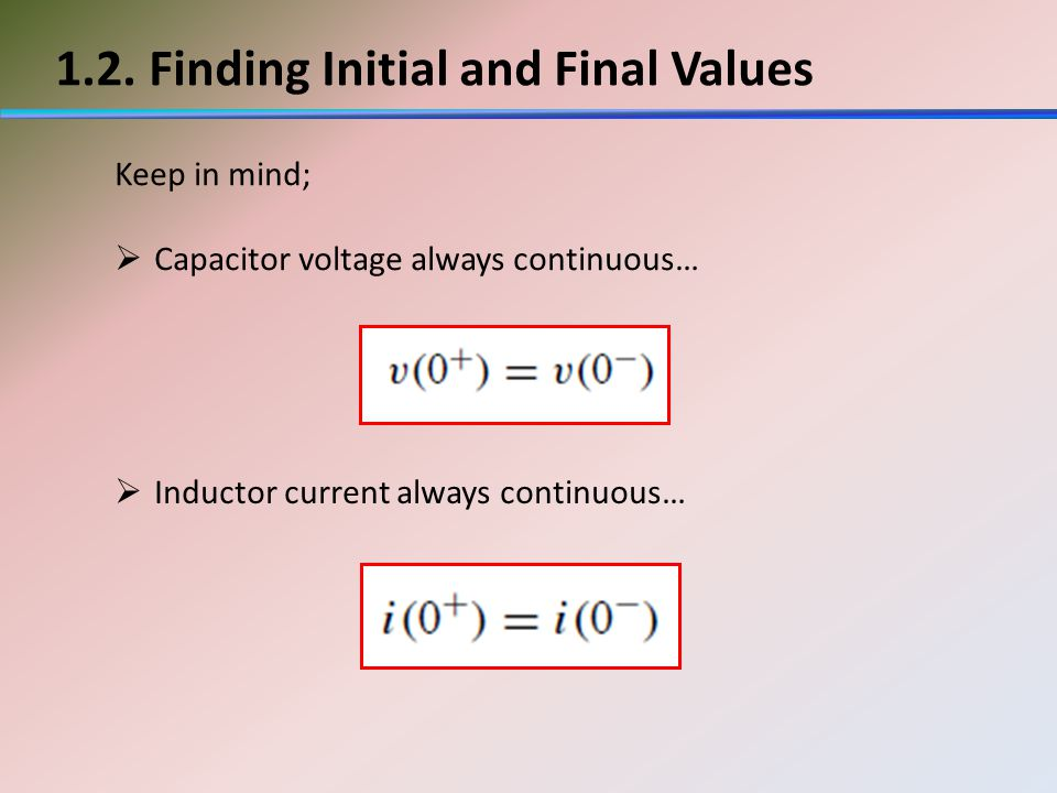 1.2. Finding Initial and Final Values