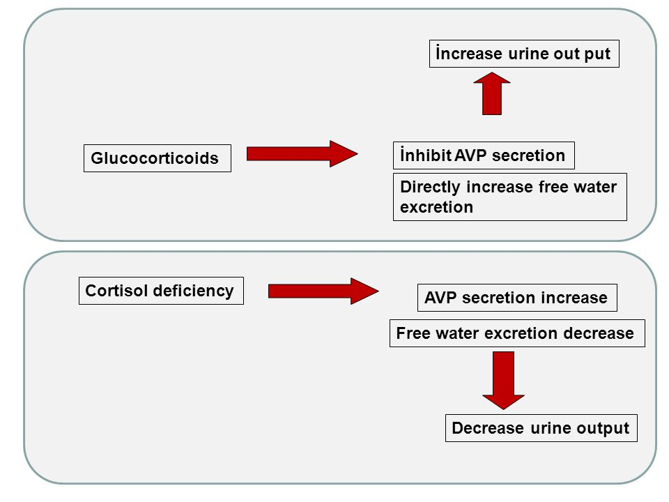 İncrease urine out put Glucocorticoids. İnhibit AVP secretion. Directly increase free water excretion.