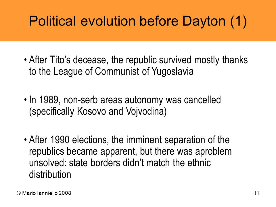 Political evolution before Dayton (1)