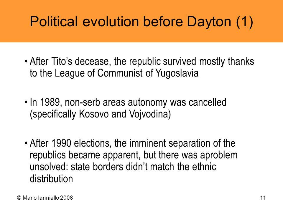 Political evolution before Dayton (1)