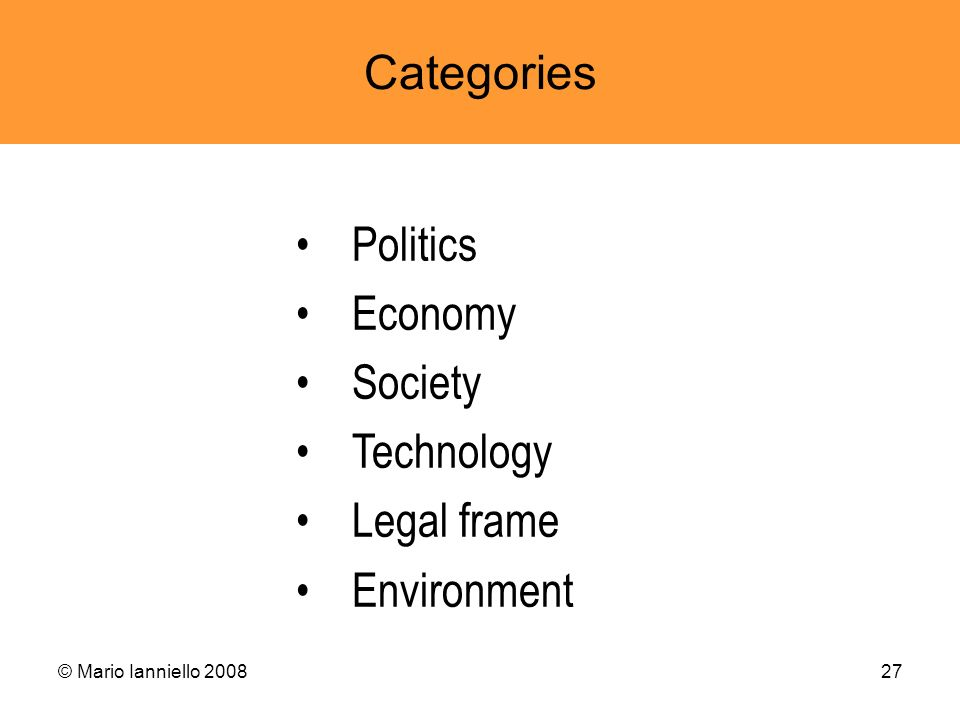 Categories Politics Economy Society Technology Legal frame Environment