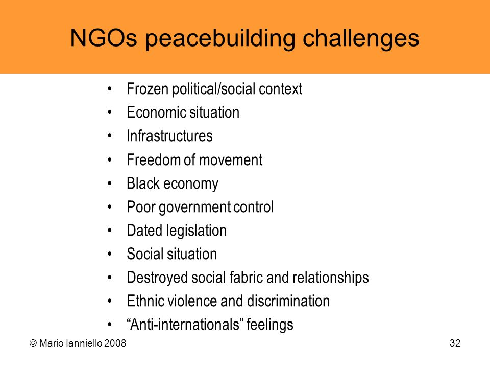 NGOs peacebuilding challenges