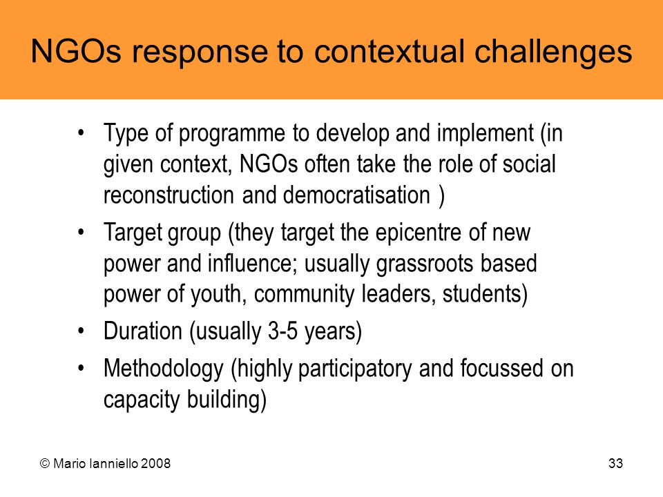 NGOs response to contextual challenges
