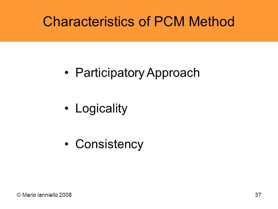 Characteristics of PCM Method
