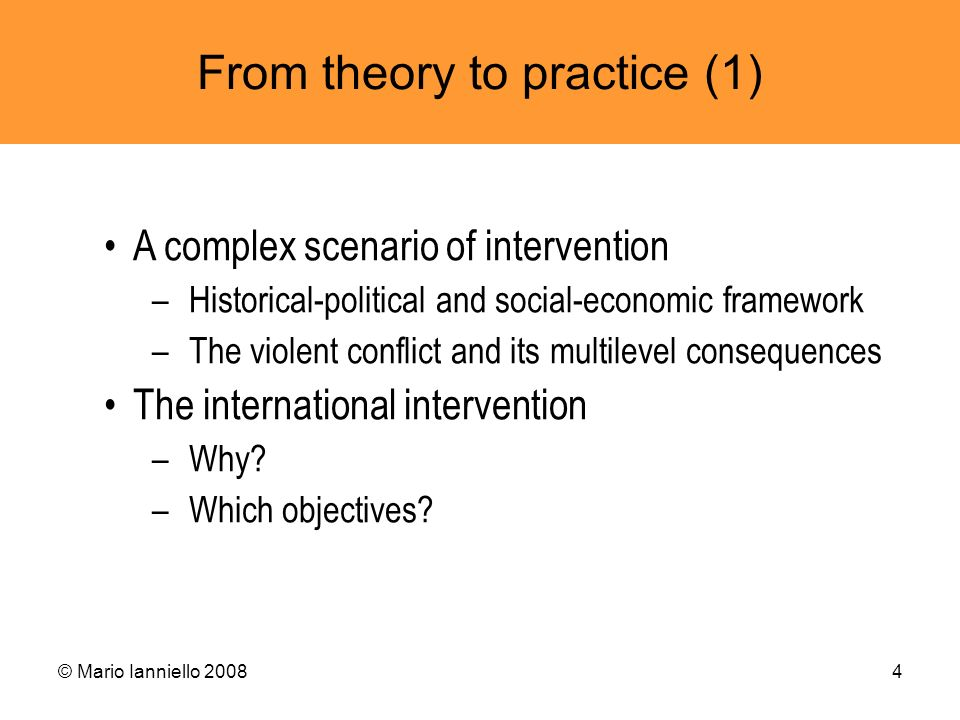 From theory to practice (1)