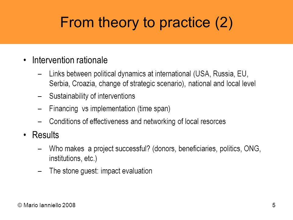 From theory to practice (2)