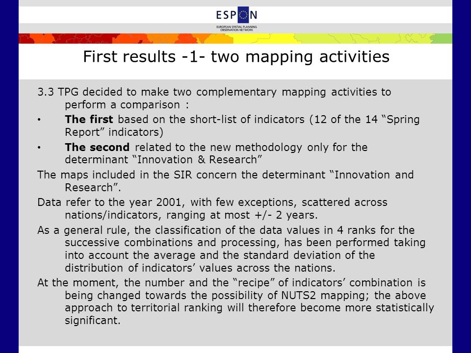First results -1- two mapping activities