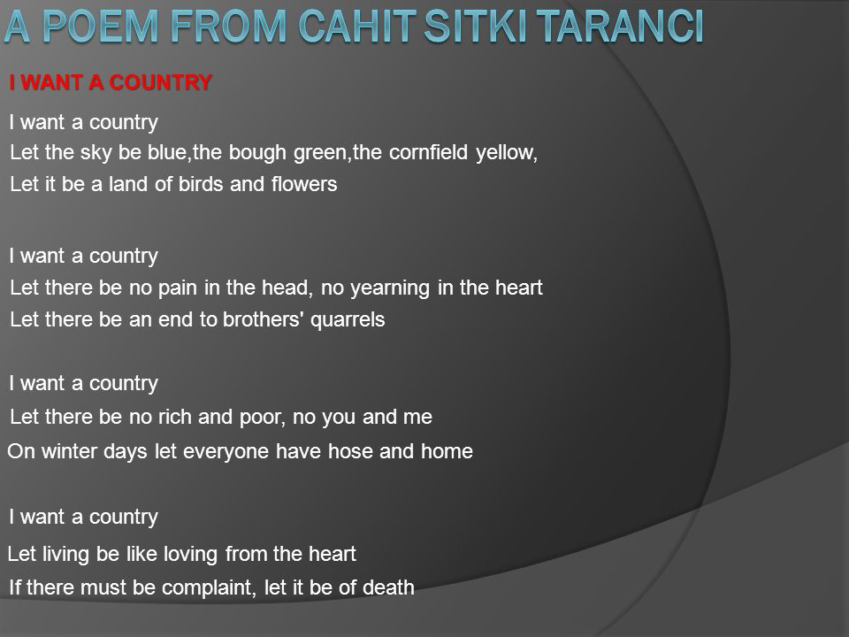 A POEM FROM CAHIT SITKI TARANCI