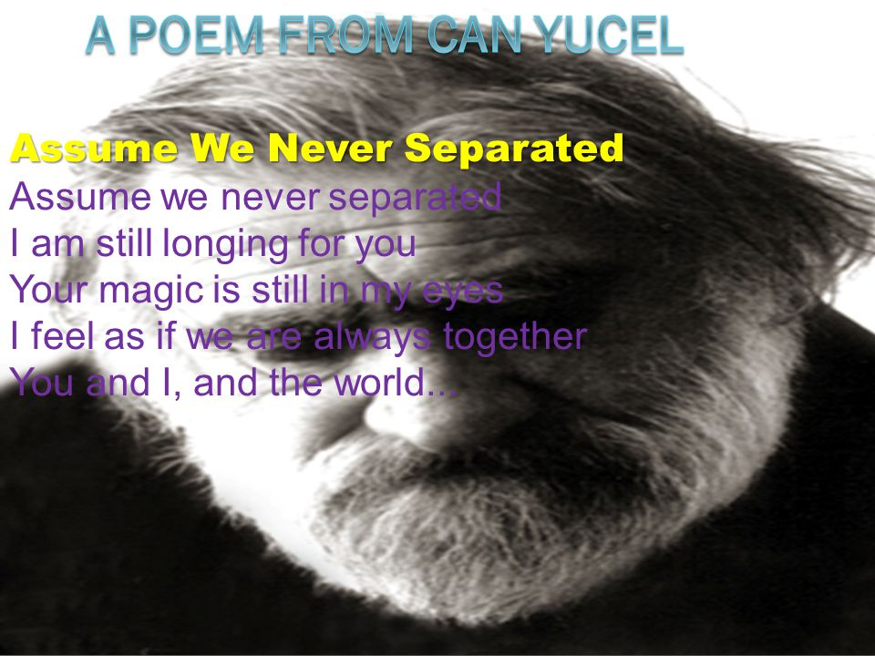 A POEM FROM CAN YUCEL Assume We Never Separated