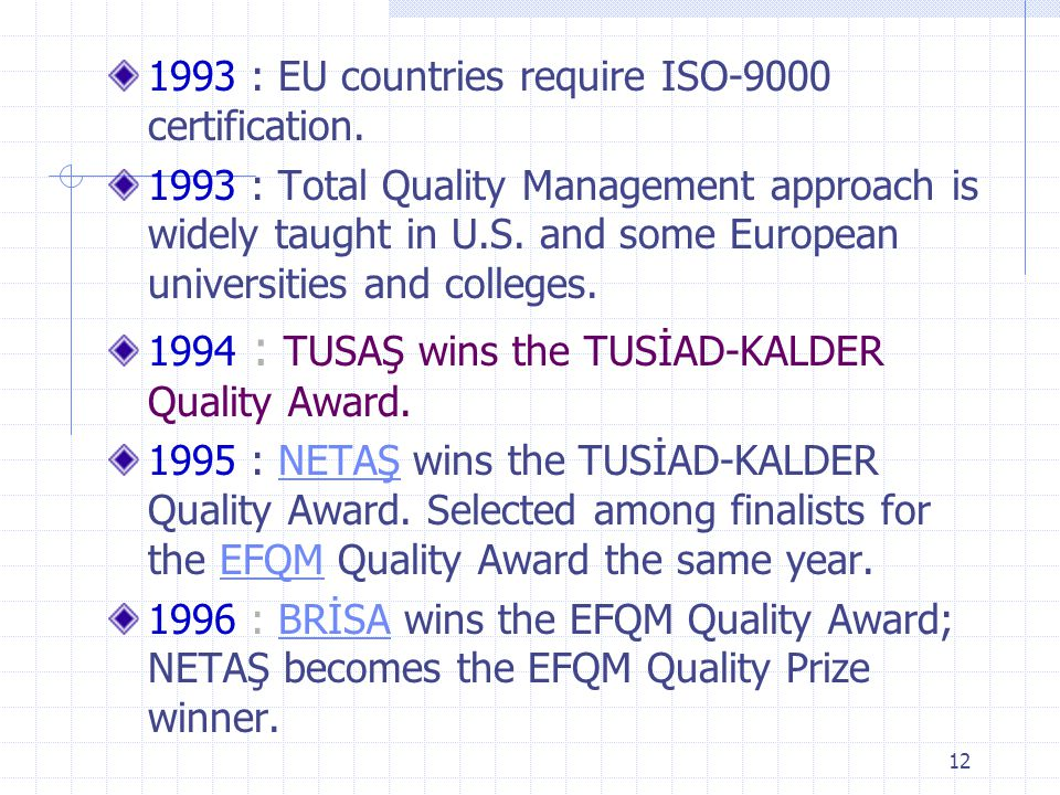 1993 : EU countries require ISO-9000 certification.