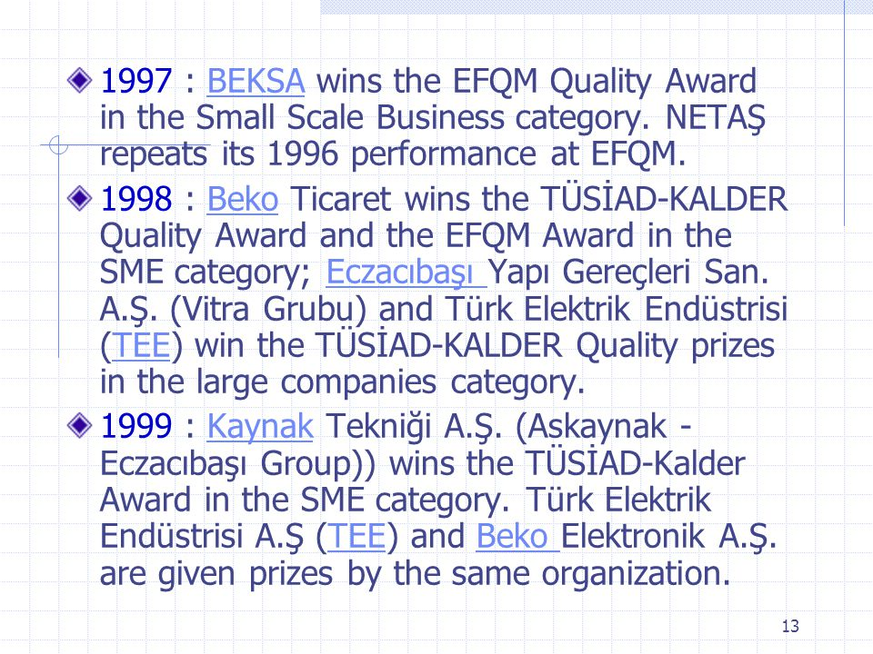 1997 : BEKSA wins the EFQM Quality Award in the Small Scale Business category. NETAŞ repeats its 1996 performance at EFQM.