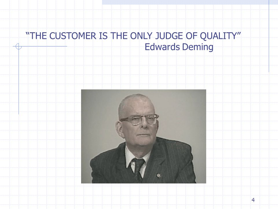 THE CUSTOMER IS THE ONLY JUDGE OF QUALITY Edwards Deming