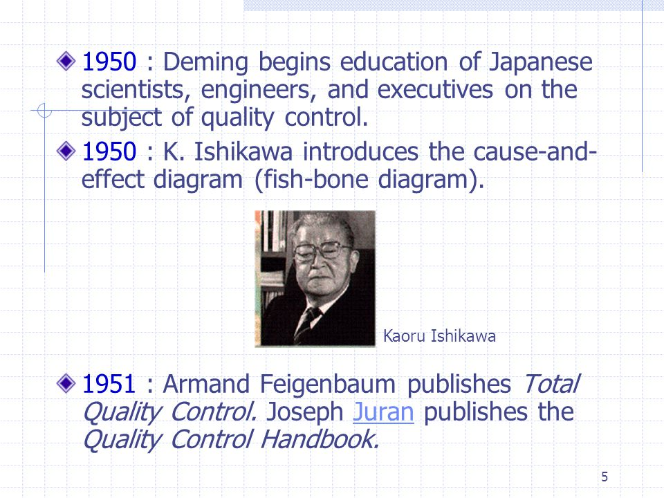 1950 : Deming begins education of Japanese scientists, engineers, and executives on the subject of quality control.