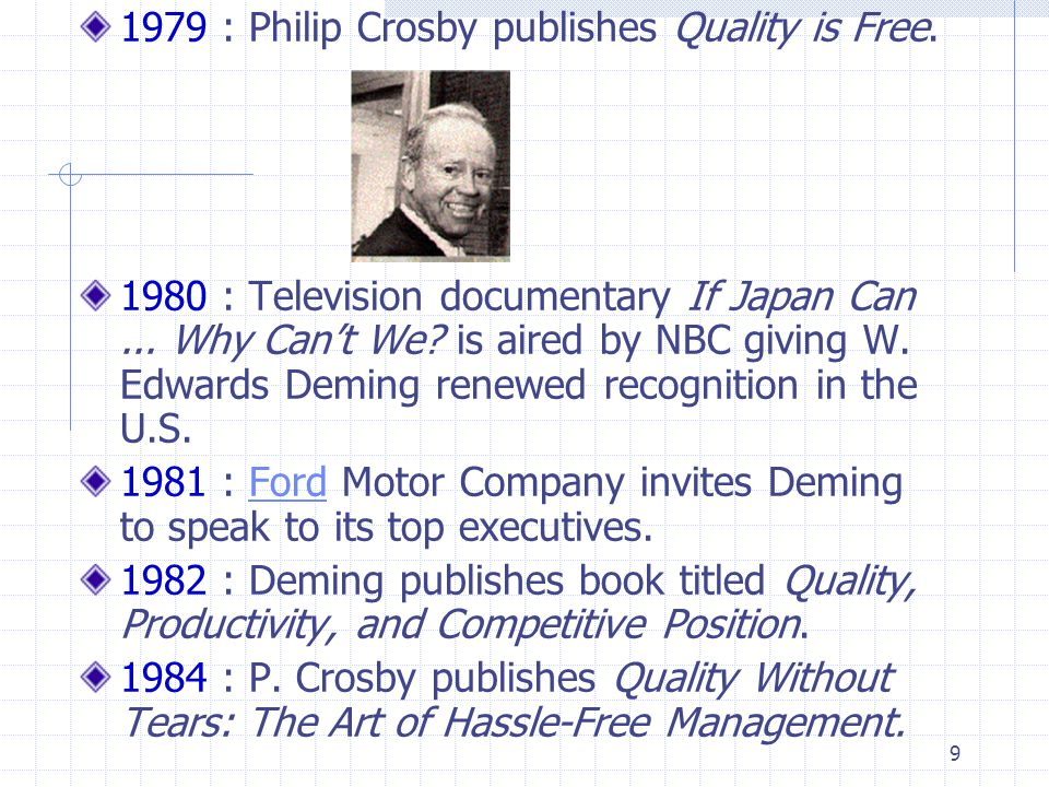 1979 : Philip Crosby publishes Quality is Free.