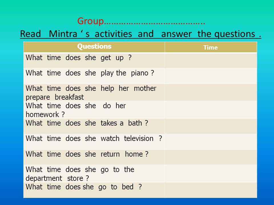 Read Mintra ' s activities and answer the questions .