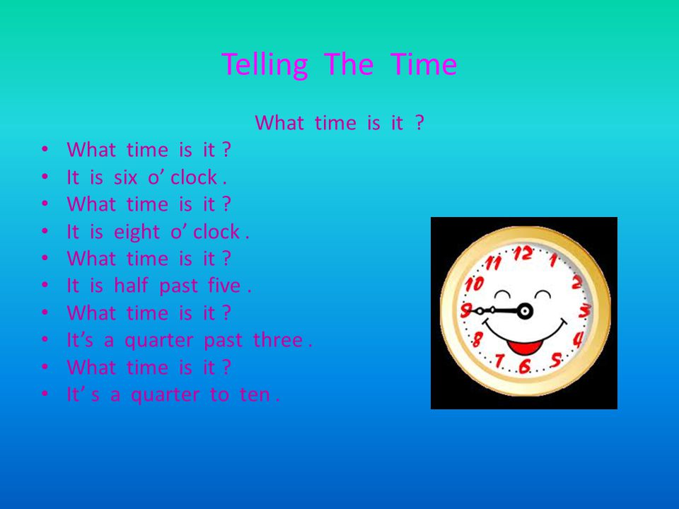 Telling The Time What time is it What time is it