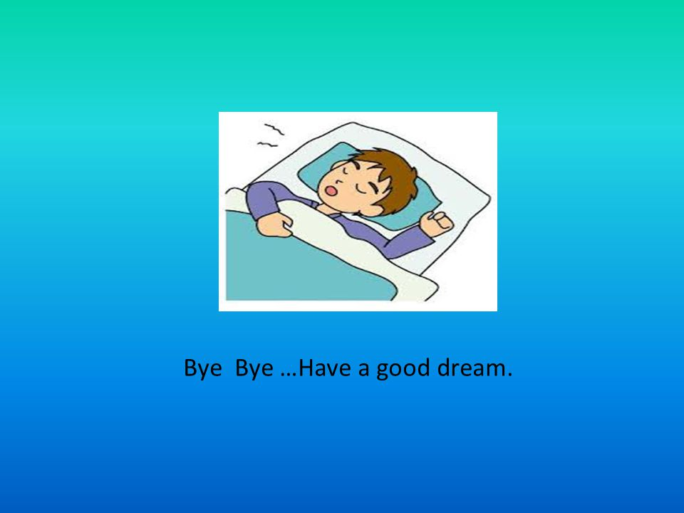 Bye Bye …Have a good dream.