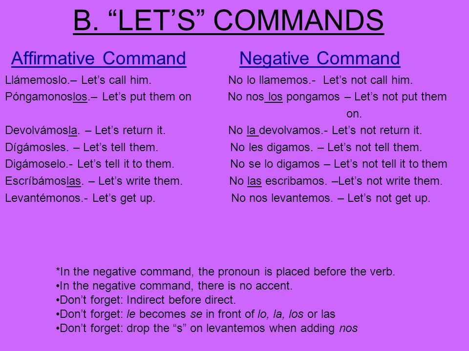 B. LET'S COMMANDS Affirmative Command Negative Command