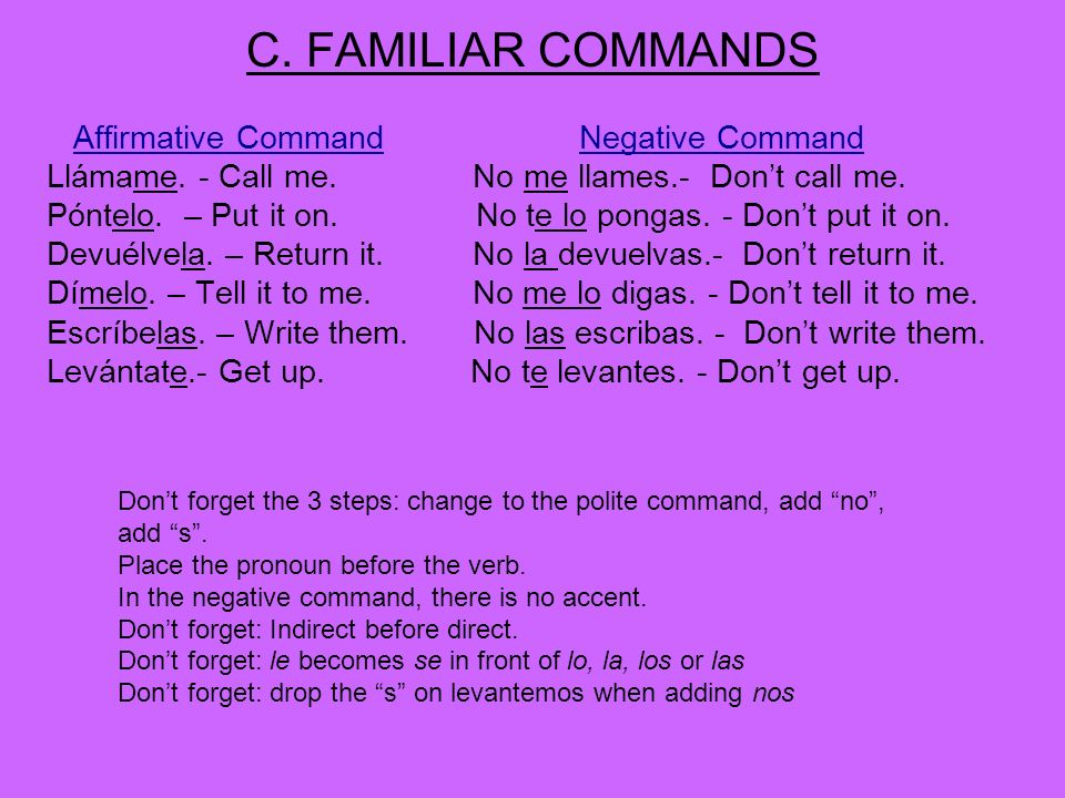 C. FAMILIAR COMMANDS Affirmative Command Negative Command