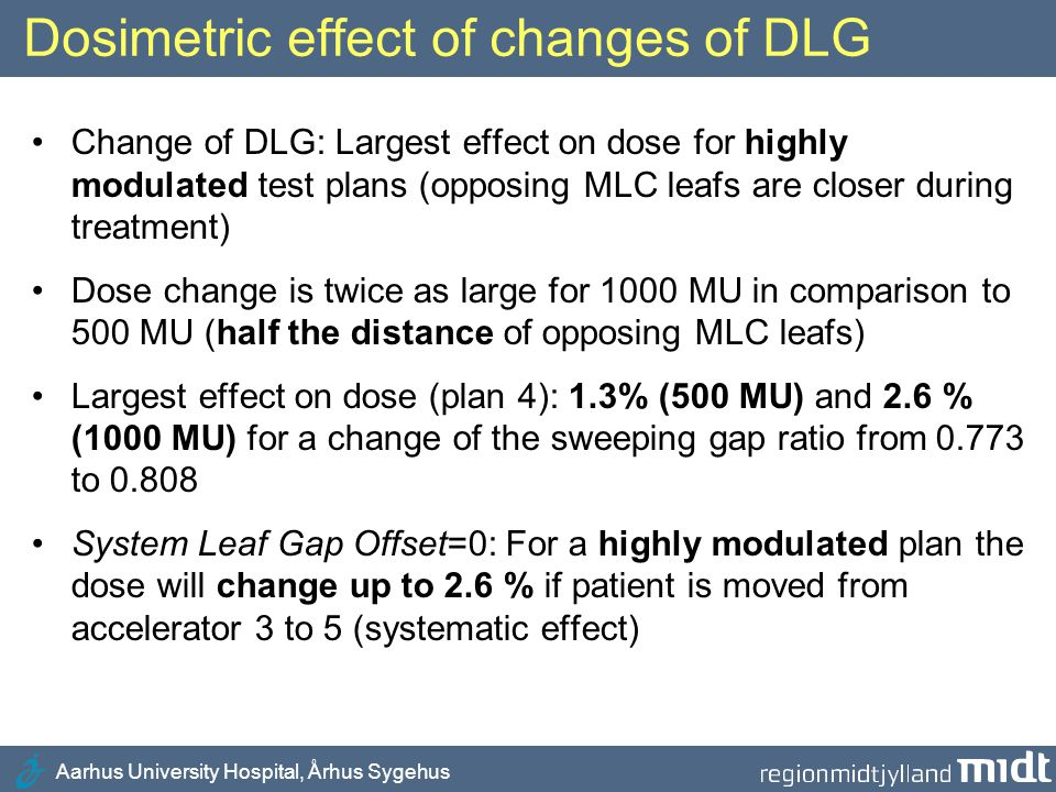 Dosimetric effect of changes of DLG