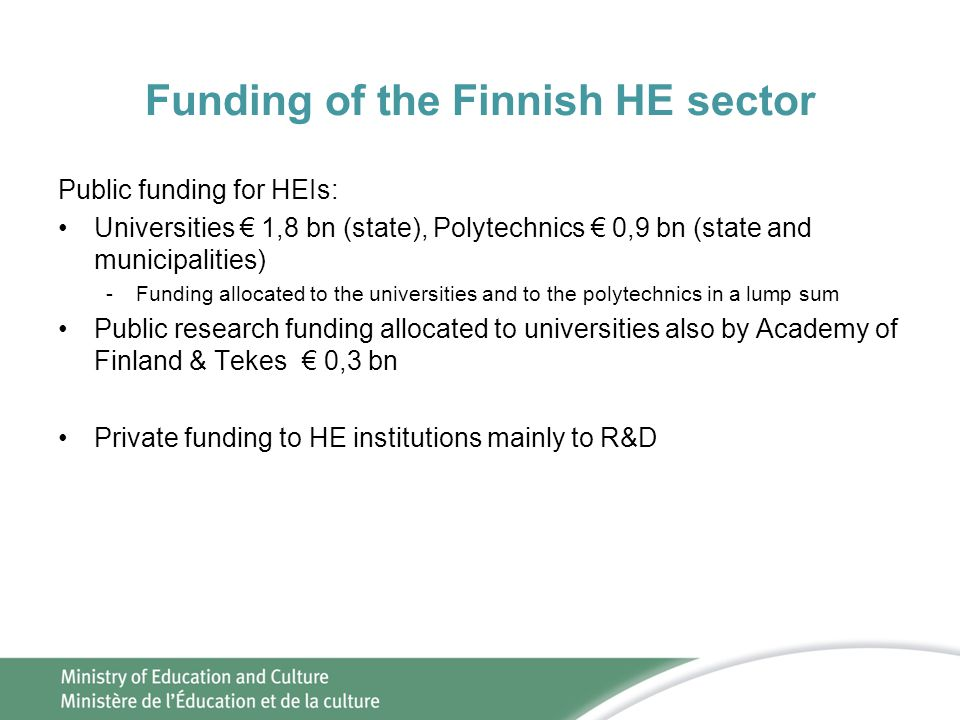 Funding of the Finnish HE sector