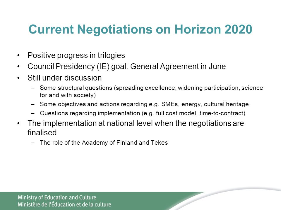Current Negotiations on Horizon 2020