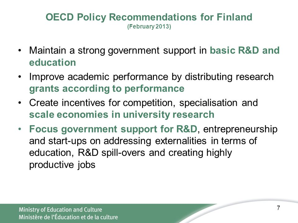 OECD Policy Recommendations for Finland (February 2013)