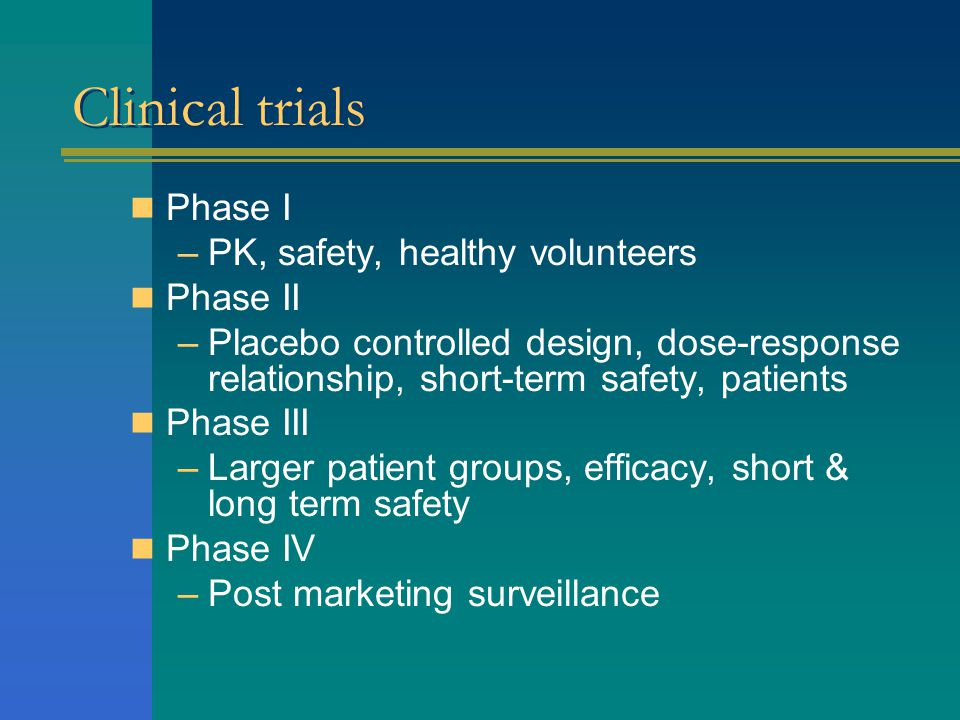 Clinical trials Phase I PK, safety, healthy volunteers Phase II