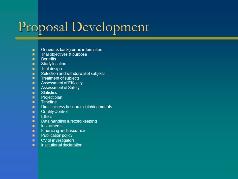 Proposal Development General & background information