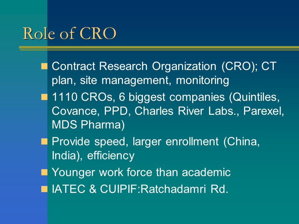 Role of CRO Contract Research Organization (CRO); CT plan, site management, monitoring.