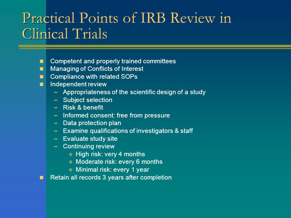 Practical Points of IRB Review in Clinical Trials