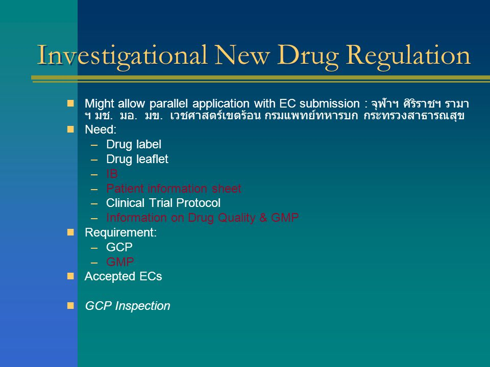 Investigational New Drug Regulation