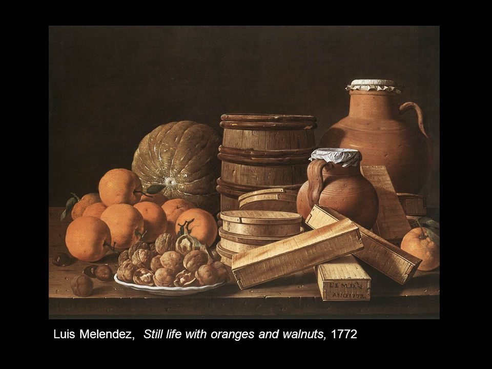 Luis Melendez, Still life with oranges and walnuts, 1772