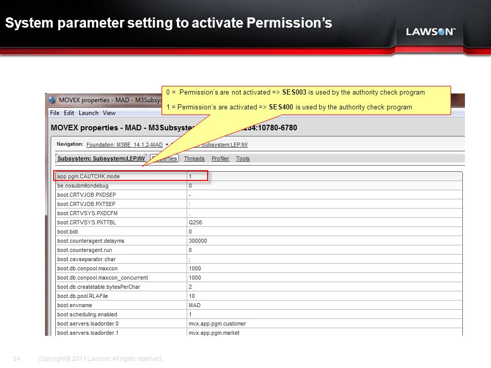 System parameter setting to activate Permission's