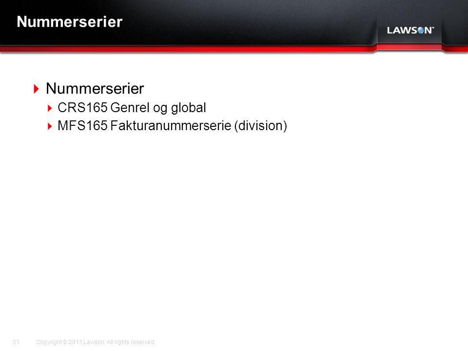 Nummerserier Nummerserier CRS165 Genrel og global
