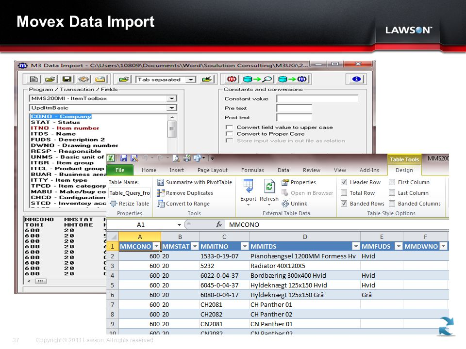 Movex Data Import Copyright © 2011 Lawson. All rights reserved.