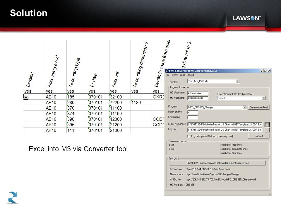 Solution Excel into M3 via Converter tool